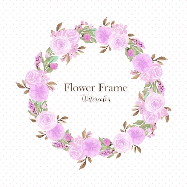 Linda grinalda floral roxa suave multiuso Vetor Premium