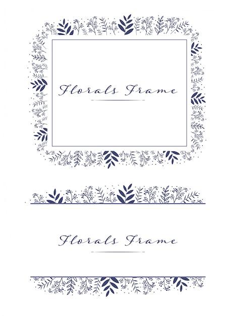 Linda linda florals frame fundo do logotipo de grinalda Vetor Premium