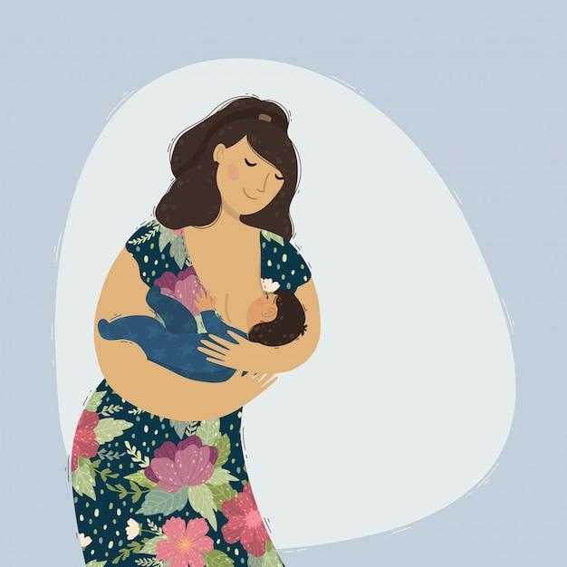 Linda mãe amamentando seu filho bebê. Vetor Premium