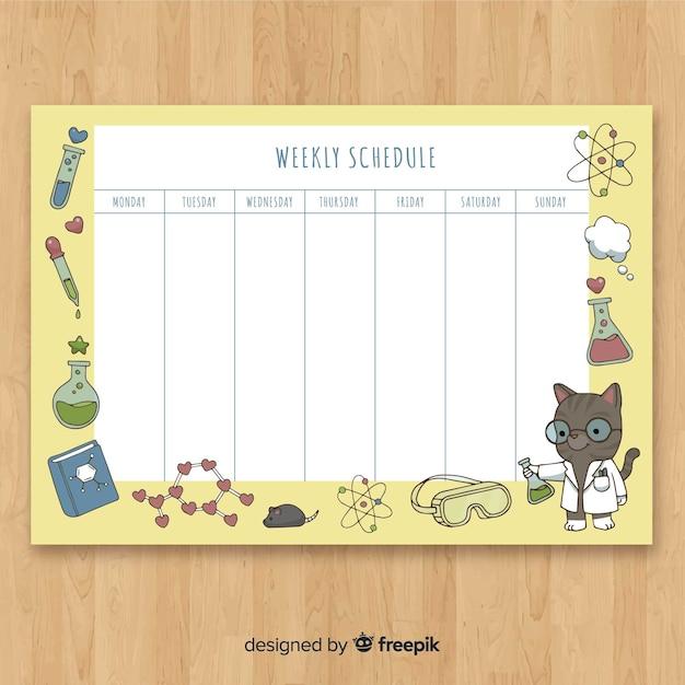 Linda mão desenhada agenda semanal Vetor grátis