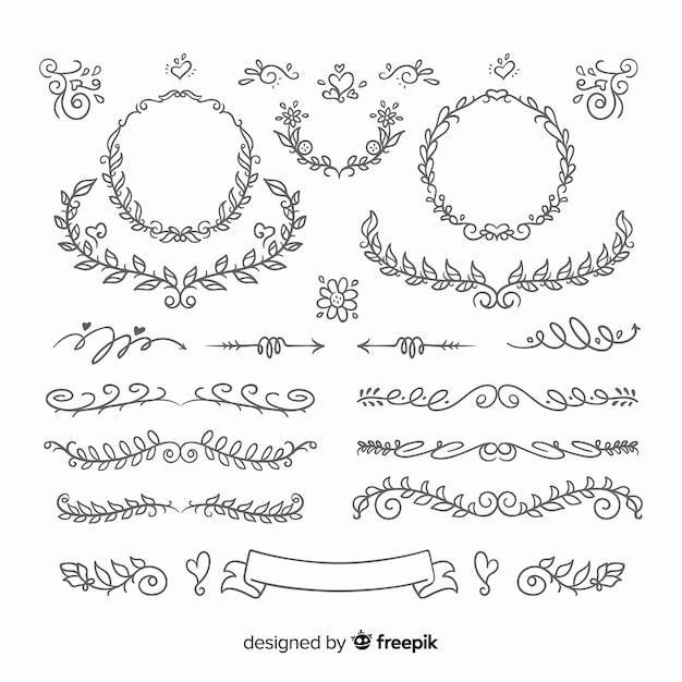 Linda mão desenhada conjunto de enfeite de casamento Vetor grátis