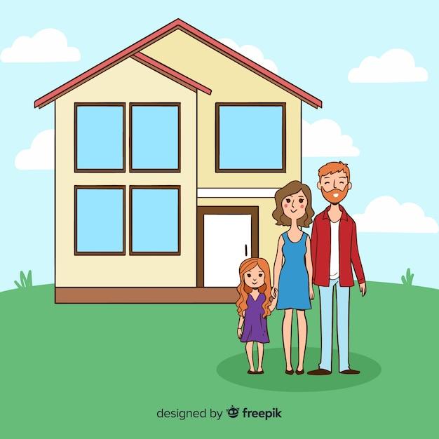 Linda mão desenhada família em casa Vetor grátis