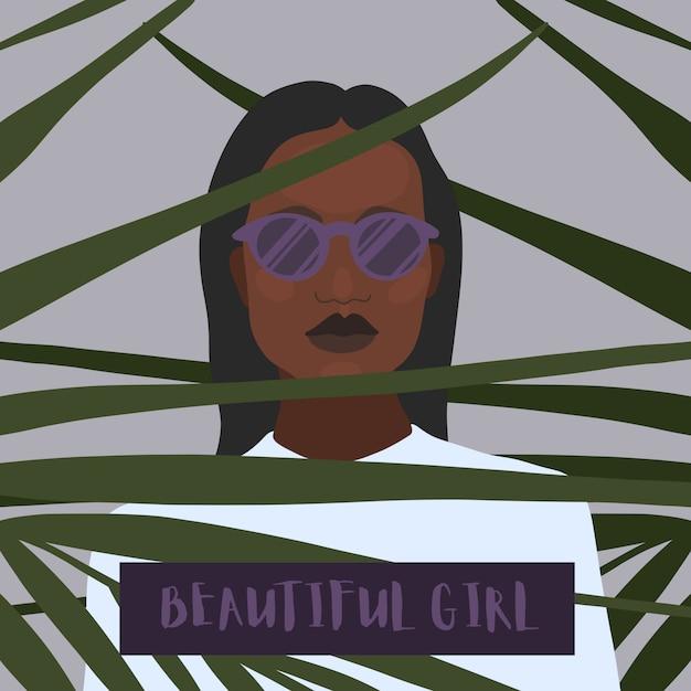 Linda menina com óculos Vetor Premium