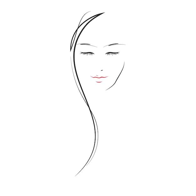 Linda menina - linha ilustração plana Vetor Premium