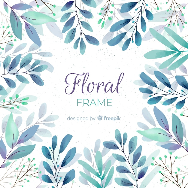 Linda moldura floral aquarela Vetor grátis