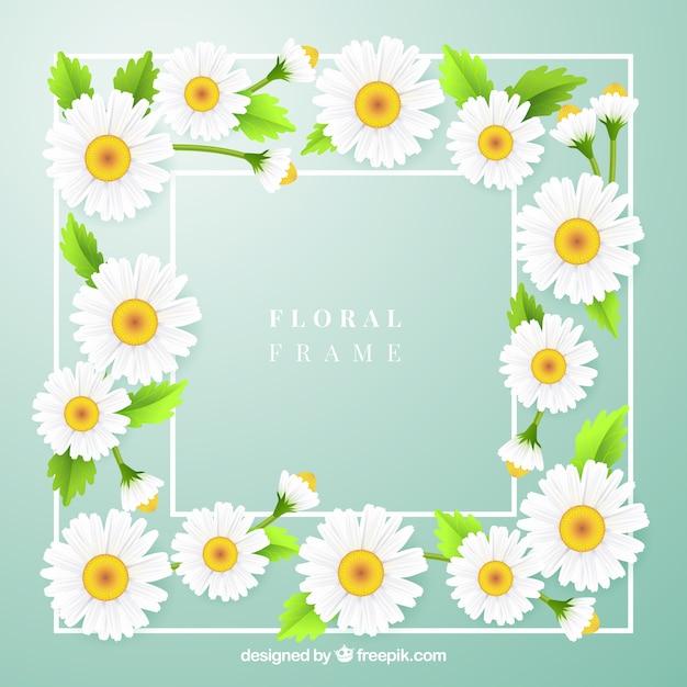 Linda moldura floral com estilo realista Vetor Premium