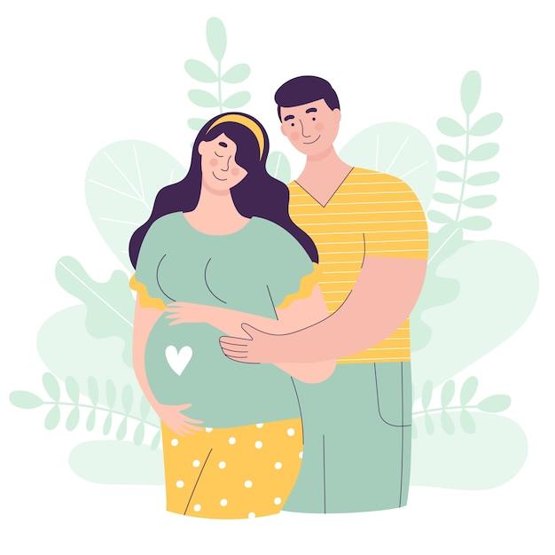 Linda mulher e homem esperando um bebê Vetor Premium