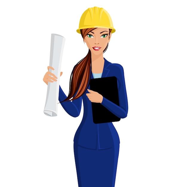 Linda mulher engenheiro mulher de negócios no capacete isolado no fundo branco ilustração vetorial Vetor grátis