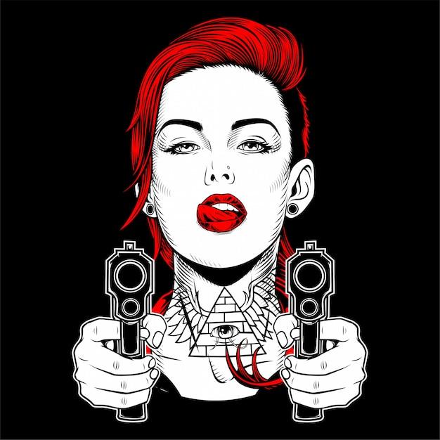Linda mulher segurando um desenho de mão de arma Vetor Premium
