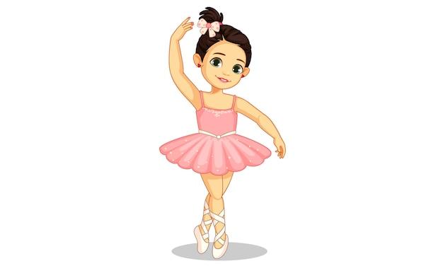 Linda pequena bailarina no ballet Vetor Premium