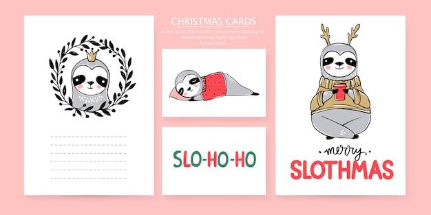 Linda preguiça, coleção de cartões de feliz natal. doodle ursos preguiças preguiçosos e inscrições de letras. conjunto de animais de feliz ano novo e natal. Vetor Premium
