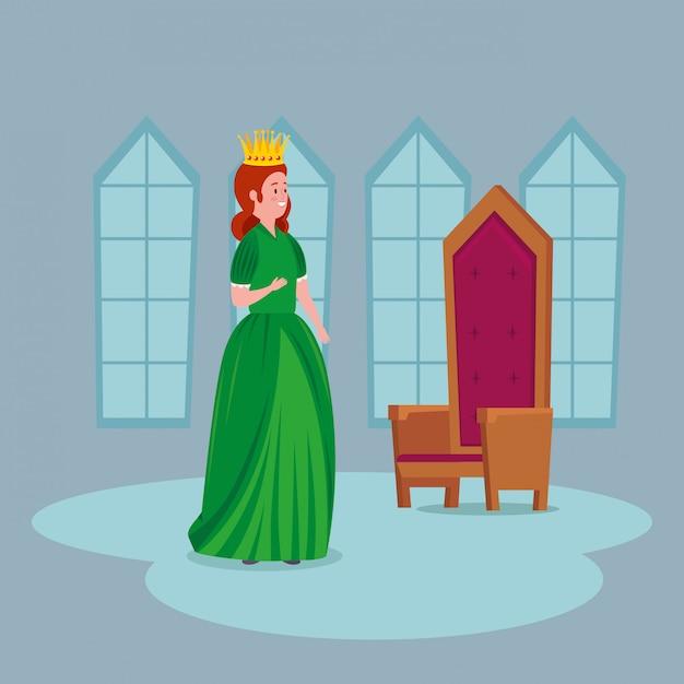 Linda princesa com cadeira no castelo Vetor grátis