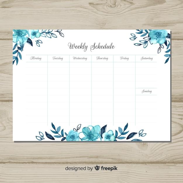 Linda programação semanal com estilo floral Vetor grátis