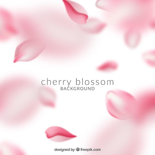 Linda rosa flor de cerejeira fundo Vetor grátis