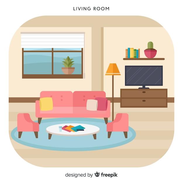 Linda sala de estar com design plano Vetor grátis