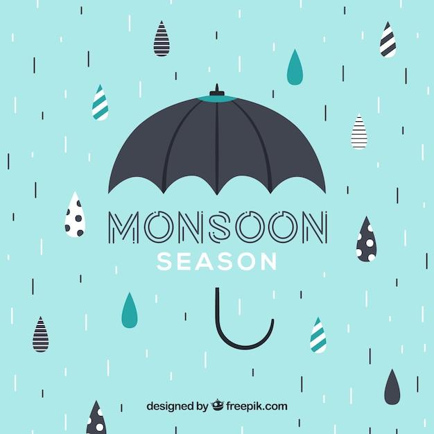 Linda temporada de monções composição com guarda-chuva Vetor grátis