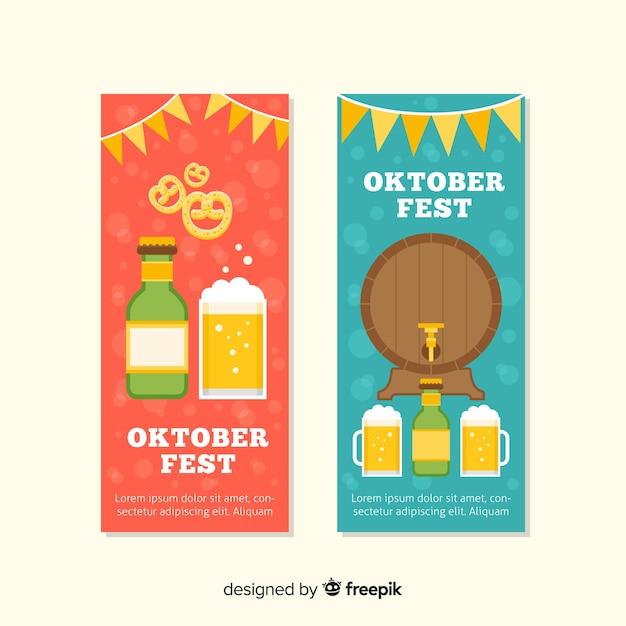 Lindas bandeiras de oktoberfest com design plano Vetor grátis