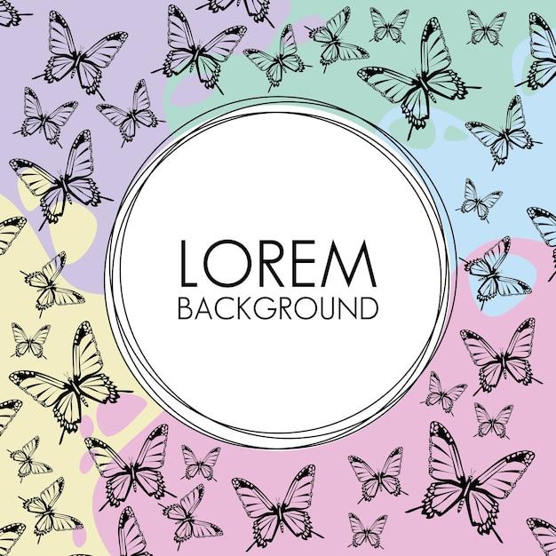 Lindas borboletas de fundo decorativo padrão com moldura circular. Vetor Premium