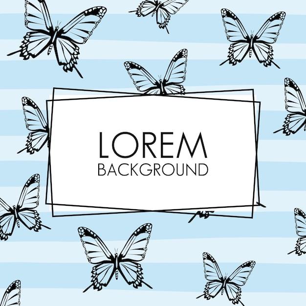 Lindas borboletas de fundo decorativo padrão com moldura quadrada. Vetor Premium