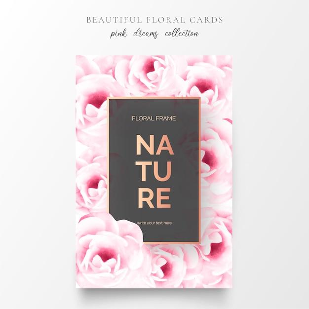 Lindas cartas florais com lindas flores Vetor grátis