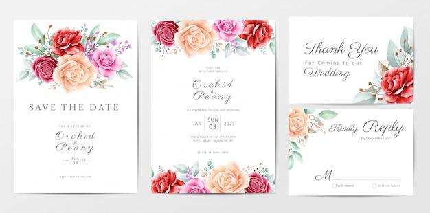 Lindas flores, conjunto de modelo de cartões de convite de casamento Vetor Premium