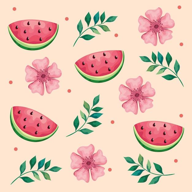 Lindas flores e folhas com ilustração de padrão de melancias Vetor Premium