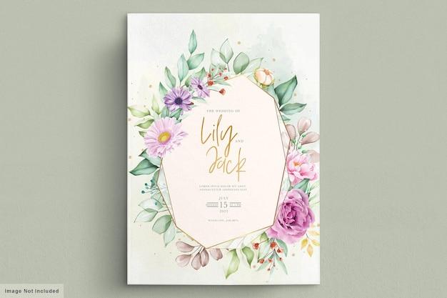 Lindas flores em aquarela cartão de casamento Vetor Premium