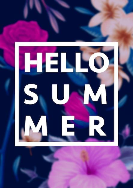 Lindas flores tropicais com letras em desfocagem o fundo. ilustração do conceito de verão Vetor Premium
