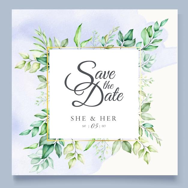 Lindas folhas verdes em aquarela modelo de cartão de casamento Vetor Premium
