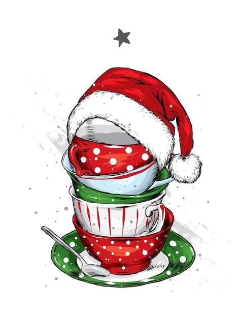 Lindas xícaras, pires e chapéu de papai noel. ano novo e natal. Vetor Premium