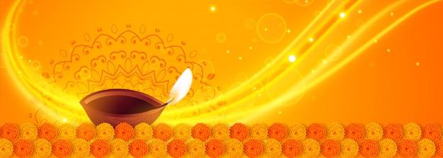 Lindo amarelo feliz diwali diya luzes banner Vetor grátis