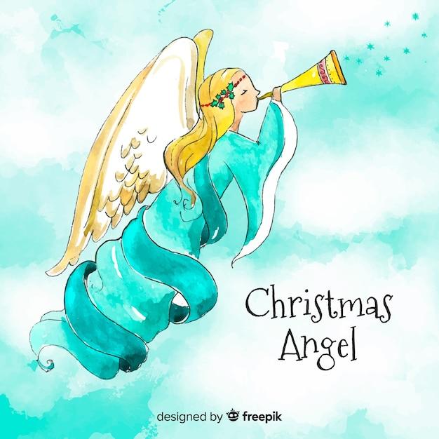 Lindo anjo de natal em aquarela Vetor grátis