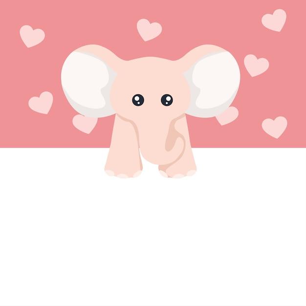 Lindo bebê elefante cartão de dia dos namorados para dedicação Vetor Premium