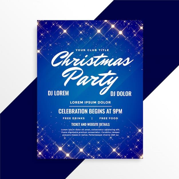 Lindo brilha panfleto de natal em fundo azul Vetor grátis