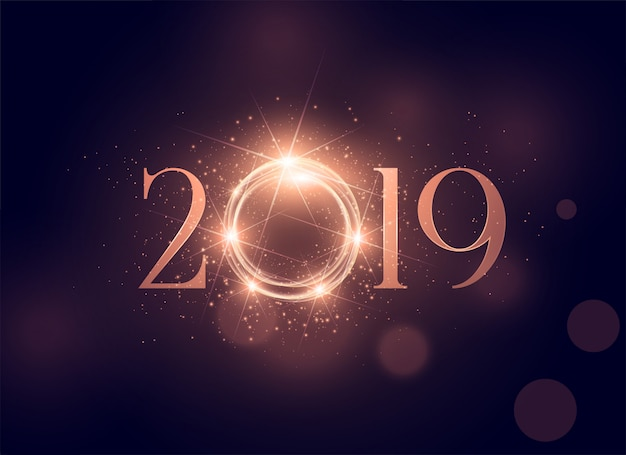 Lindo brilhante fundo brilhante de 2019 Vetor grátis