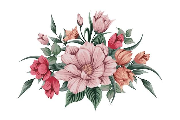 Lindo buquê de flores em aquarela Vetor grátis