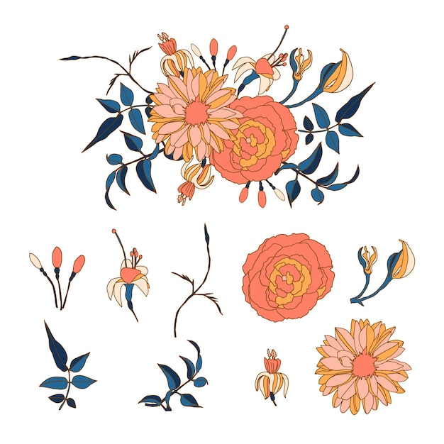 Lindo buquê floral 2d Vetor grátis