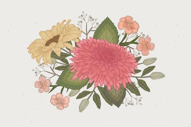 Lindo buquê floral em design vintage Vetor grátis