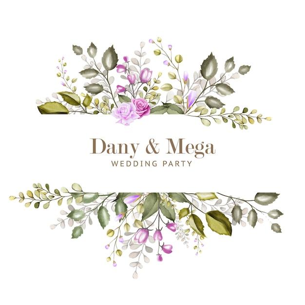 Lindo cartão de casamento com aquarela floral e folhas Vetor Premium