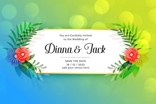 Lindo cartão de casamento com decoração de flores Vetor grátis