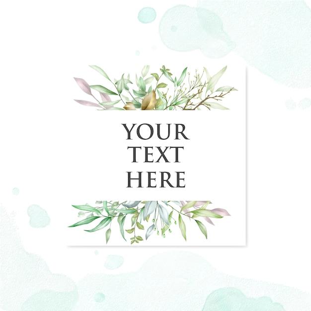 Lindo cartão de casamento com folhas fundo aquarela Vetor Premium