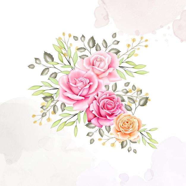 Lindo cartão de casamento com fundo aquarela Vetor Premium