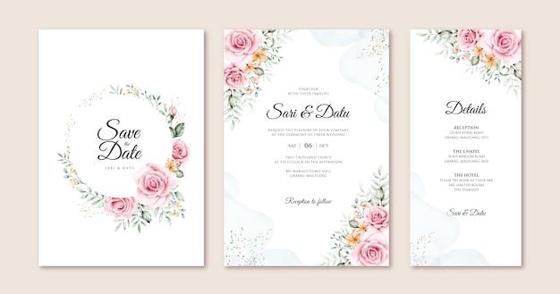 Lindo cartão de casamento conjunto modelo com flores e folhas em aquarela Vetor Premium