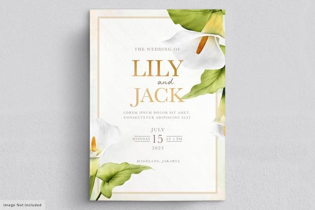 Lindo cartão de casamento de flores de lírio Vetor grátis