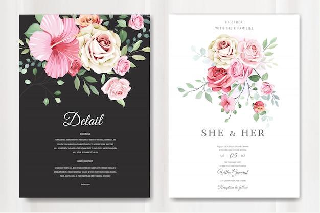 Lindo cartão de casamento em modelo de rosas elegantes Vetor Premium