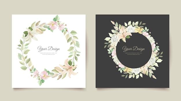 Lindo cartão de convite de casamento de flor de lírio Vetor grátis
