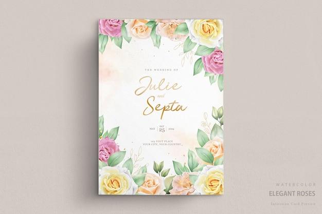 Lindo cartão de convite de casamento em aquarela Vetor grátis