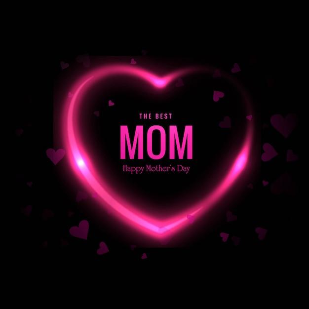Lindo cartão de dia das mães feliz com fundo de corações Vetor grátis