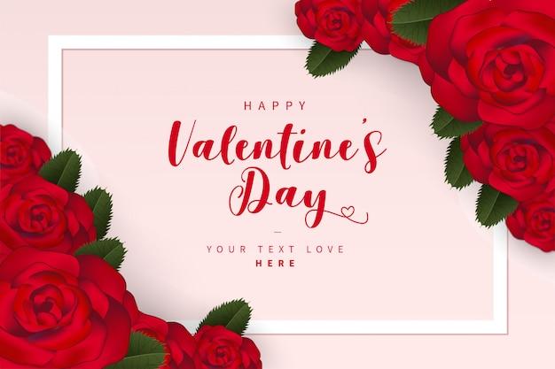 Lindo cartão de dia dos namorados com rosas Vetor grátis