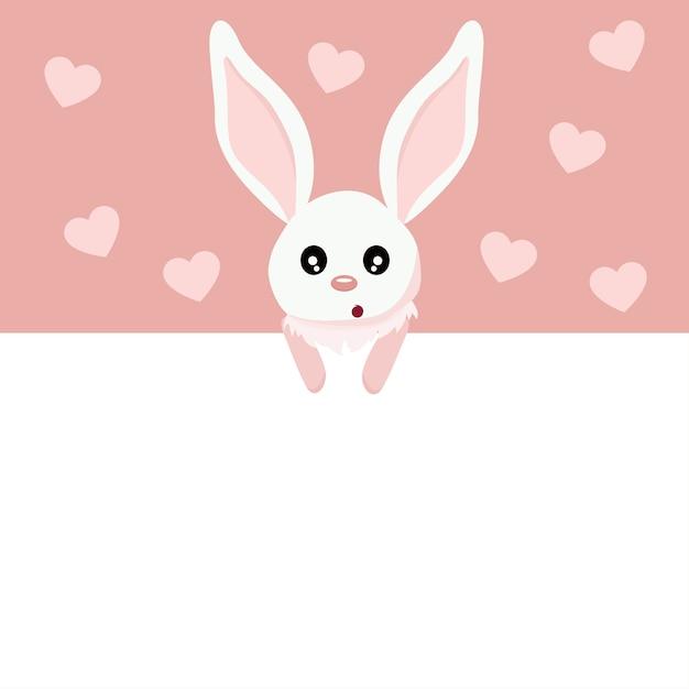 Lindo cartão de dia dos namorados de coelho bebê com sinal para escrever Vetor Premium